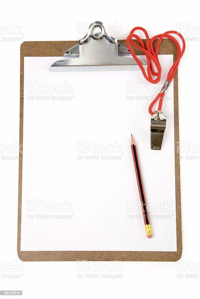 Clipboard and Whistle royalty-free stock photo
