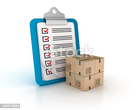 537516368 istock photo Clipboard Check List with Cardboard Boxes 542013634
