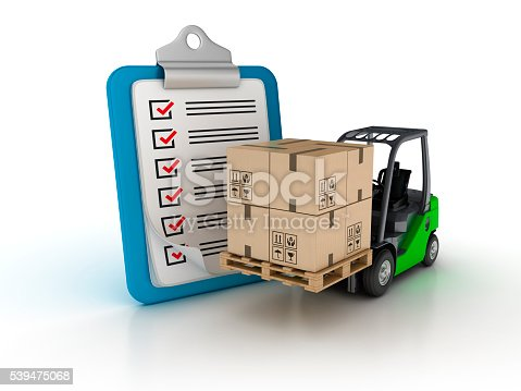 537516368 istock photo Clipboard Check List with Forklift 539475068