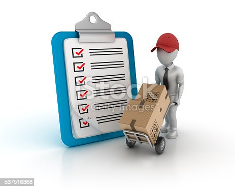 537516368 istock photo Clipboard Check List with Hand Truck and Character 537516368