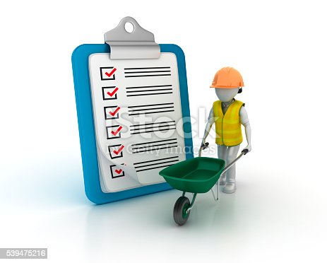 537516368 istock photo Clipboard Check List with Wheekbarrow and Construction Character 539475216