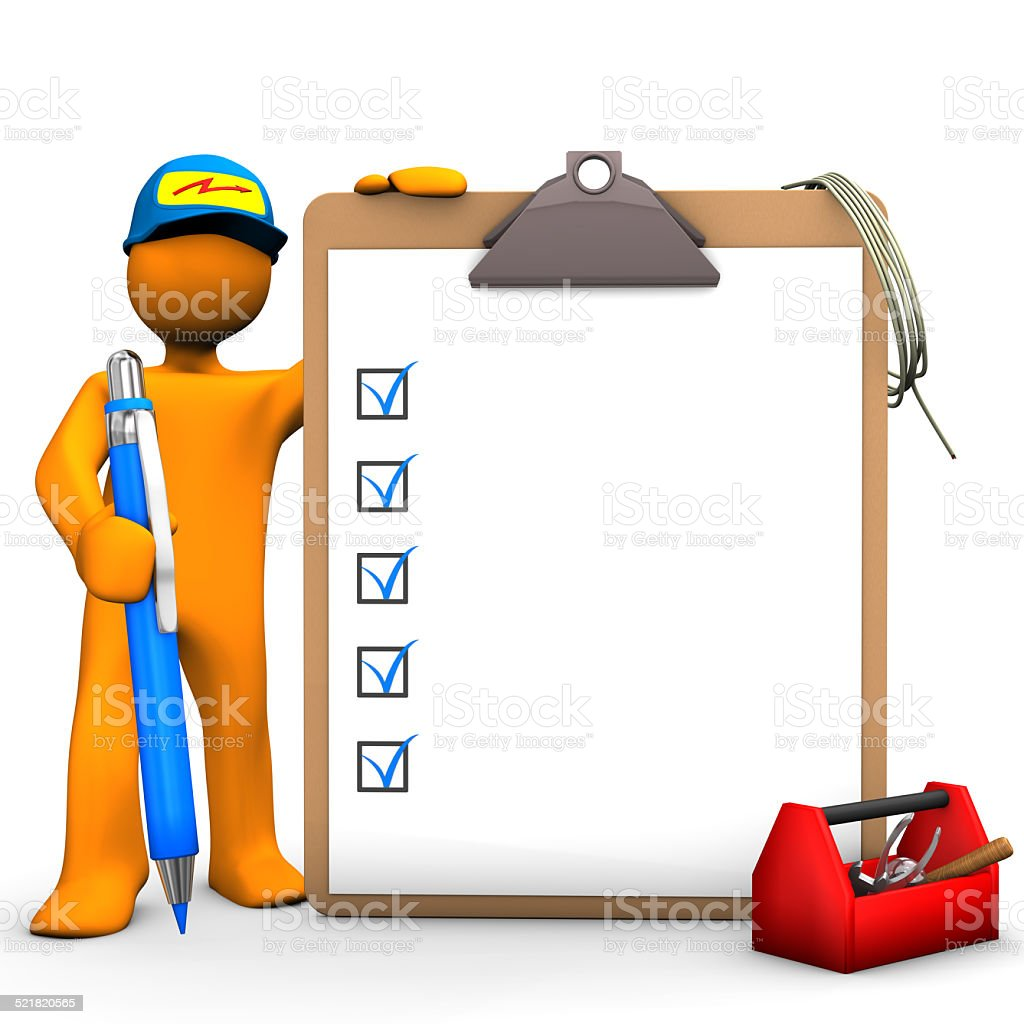Clipboard Electrical Worker stock photo