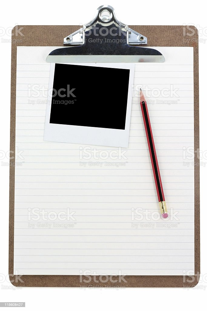 clipboard,  lined paper and photo stock photo