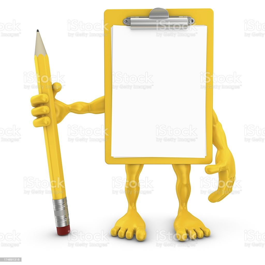 clipboard man holding pencil stock photo