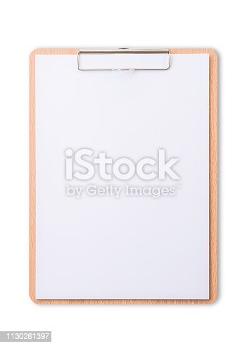 1090161334 istock photo Clipboard note pad mock up with blank A4 size white page paper isolated on white background with clipping path for business and education mockup template 1130261397