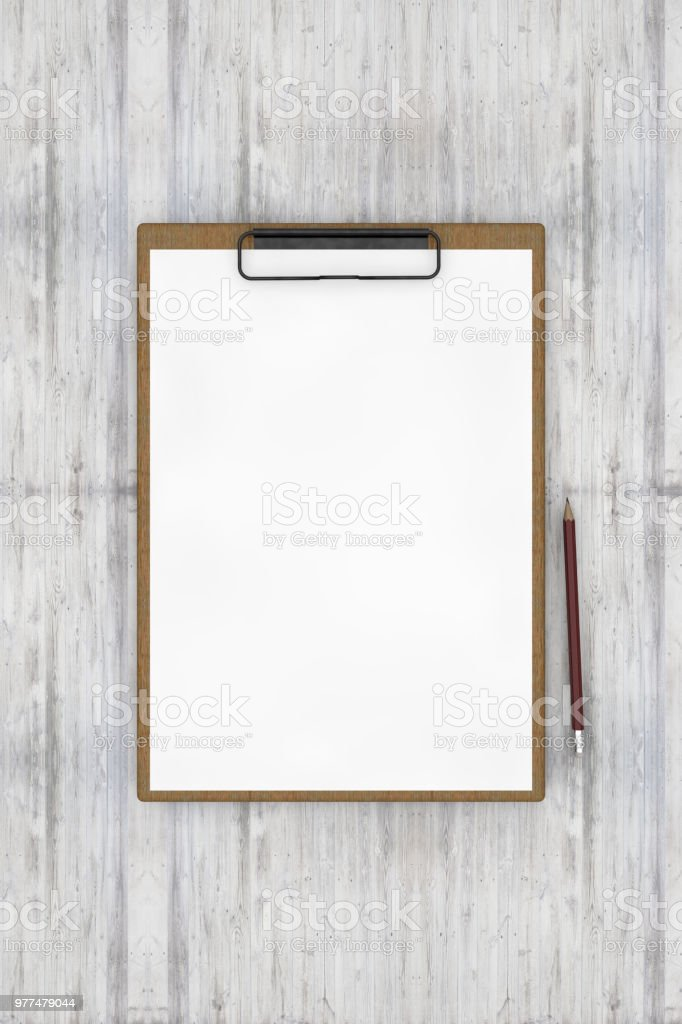 Clipboard, note paper on wooden  background with a pen stock photo