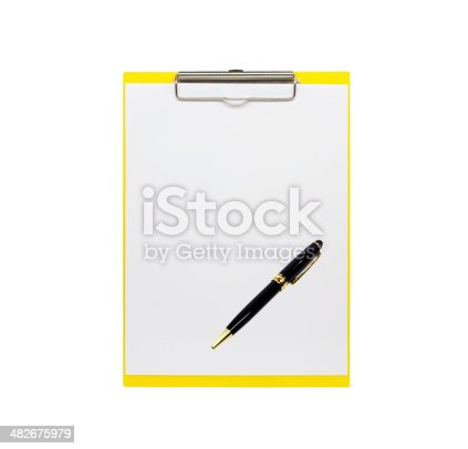 524051315istockphoto clipboard with a pen isolated on white background 482675979