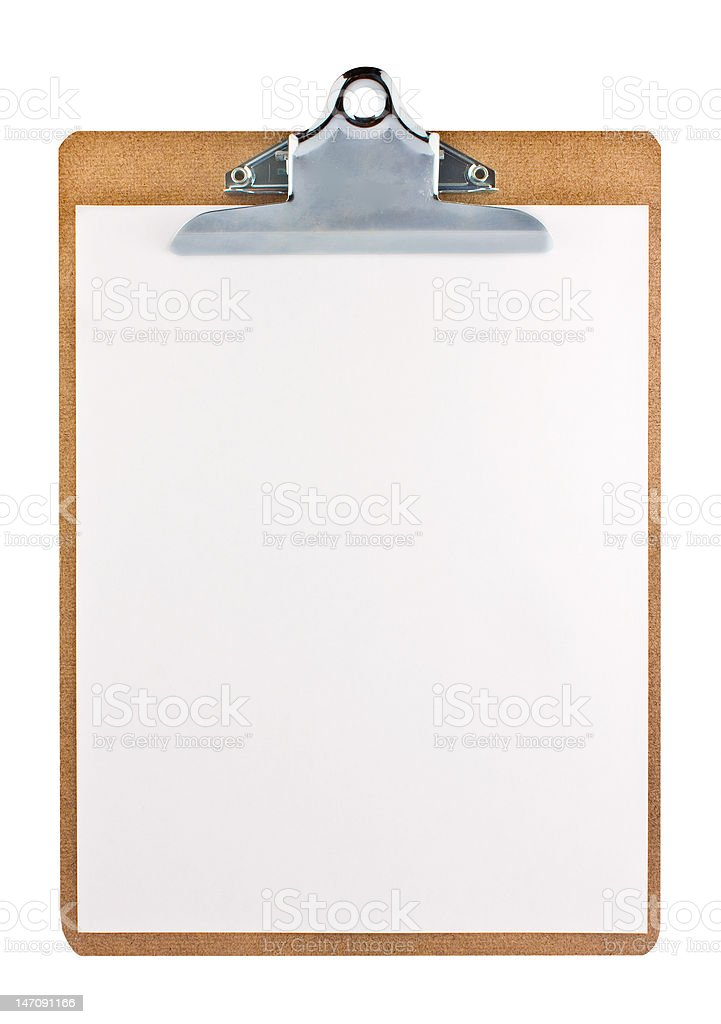 Clipboard with a sheet of paper stock photo