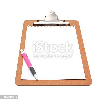 524051315istockphoto Clipboard with blank notepad isolated on white background 1182886779