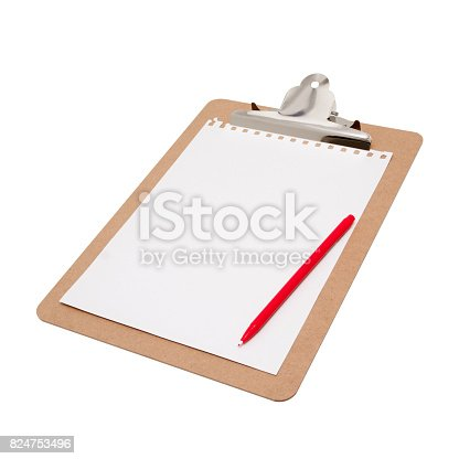 524051315istockphoto (Clipping path) Clipboard with blank notepad isolated on white background 824753496