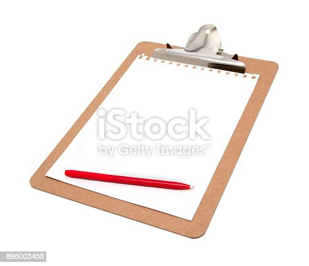 524051315 istock photo Clipboard with blank notepad isolated on white background 895003458