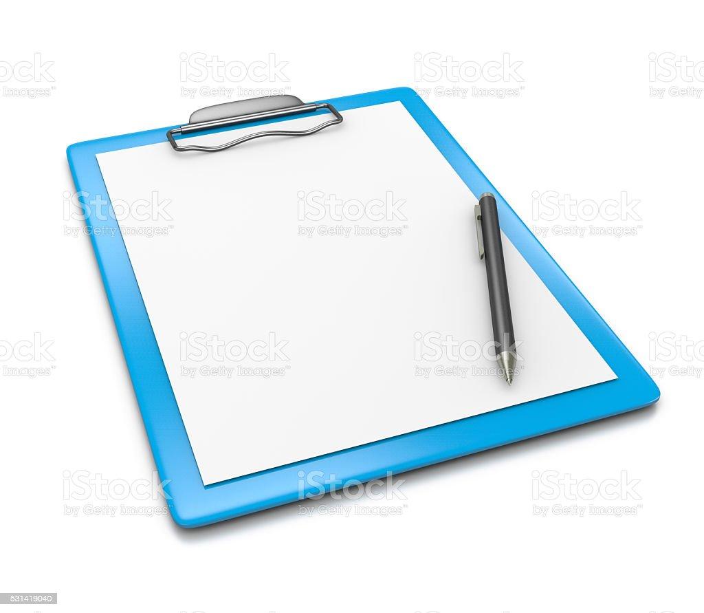 Portapapeles en blanco papel y lápiz de punta de bola - foto de stock