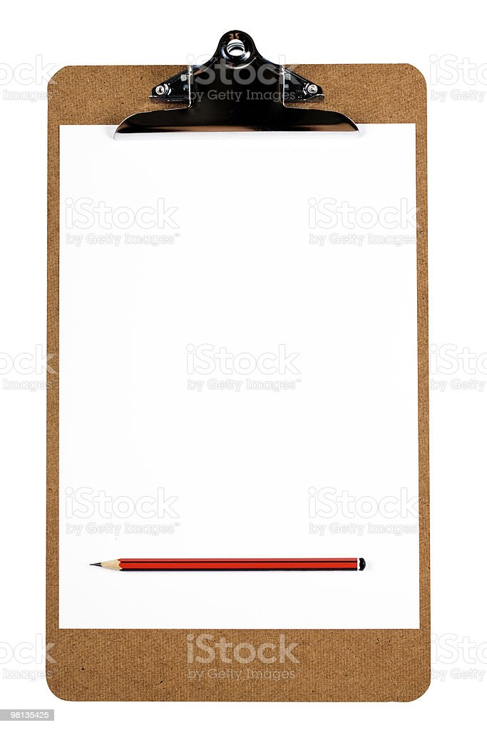 Clipboard with blank paper and pencil royalty-free stock photo