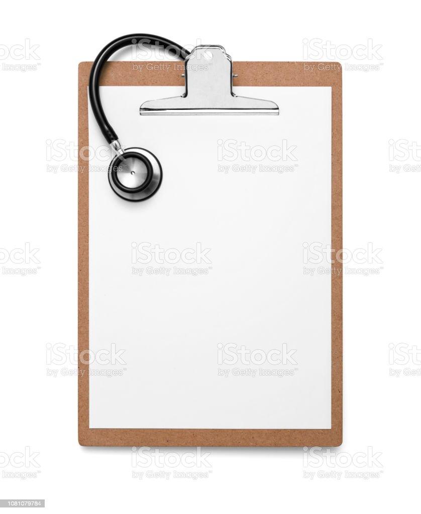 Zwischenablage mit leerem Papier und Stethoskop – Foto