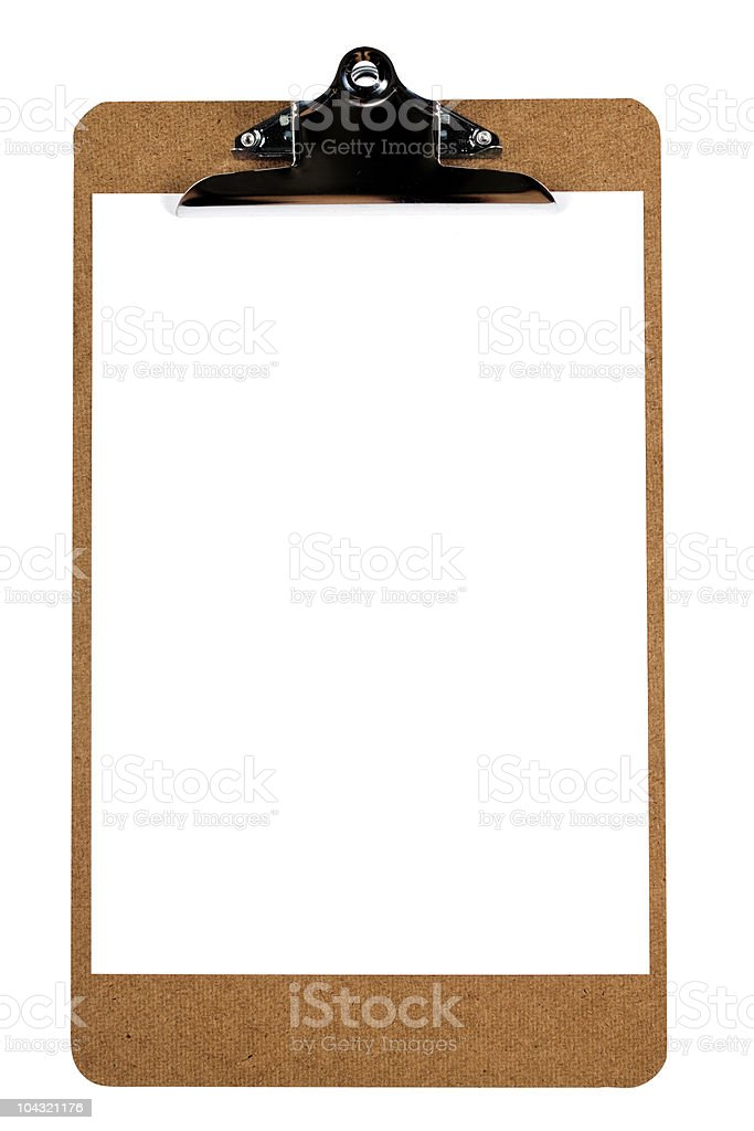Clipboard with blank paper. royalty-free stock photo