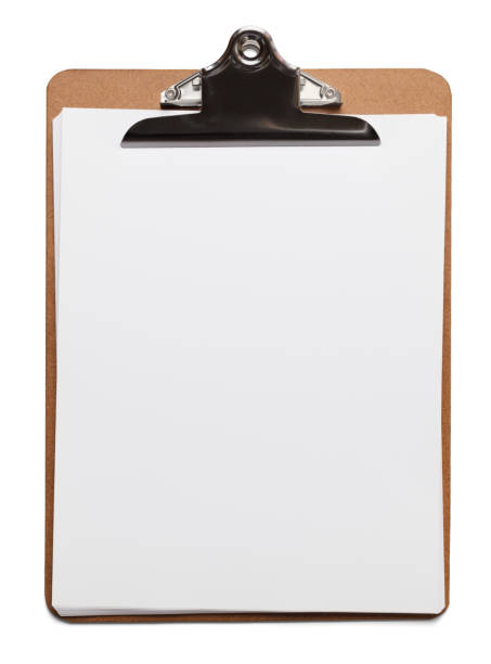 Clipboard With Blank Paper stock photo