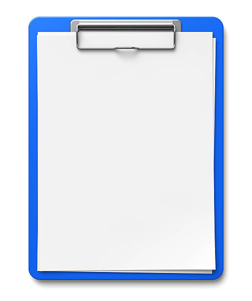 Clipboard with blank sheets of paper stock photo