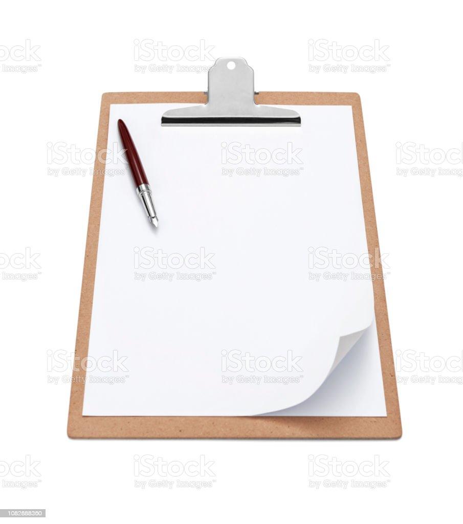 Zwischenablage mit leeren weißen Papier und Kugelschreiber – Foto