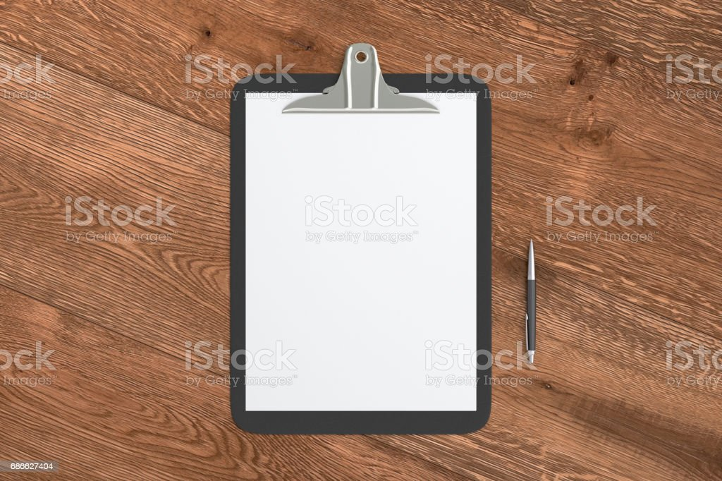 Clipboard with blank white paper royalty-free stock photo