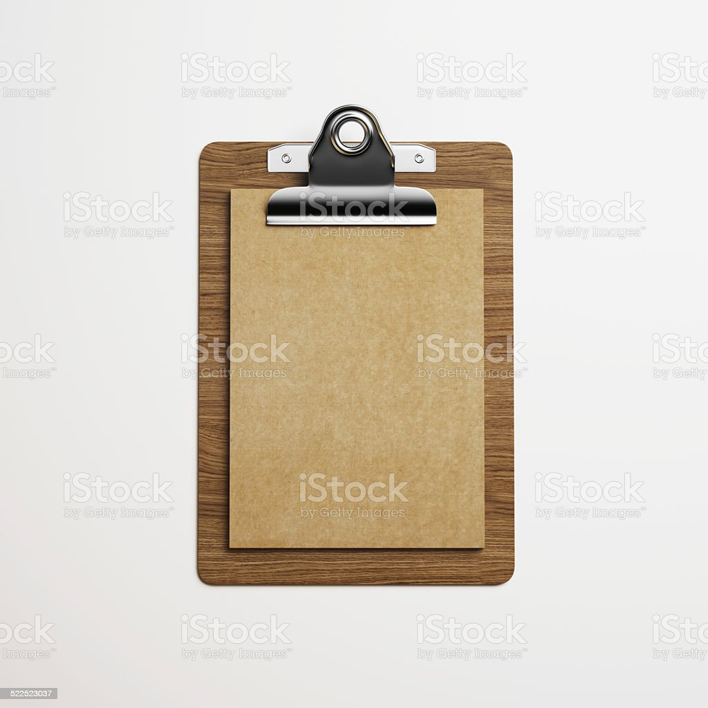 Clipboard With Brown Vintage Paper On Light Background Royalty Free Stock Photo