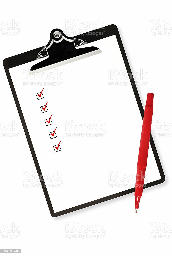 Clipboard with Checklist and Red Pen stock photo