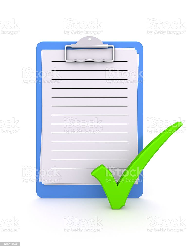 Clipboard with checkmark OK. royalty-free stock photo