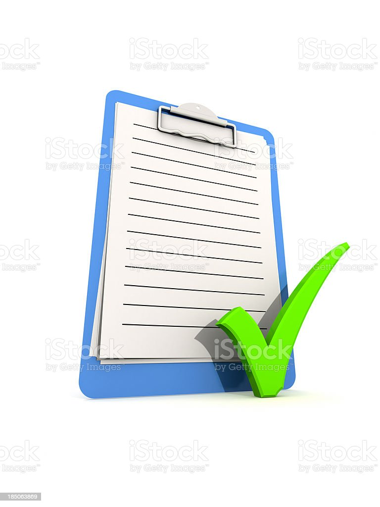 Clipboard with checkmark. royalty-free stock photo