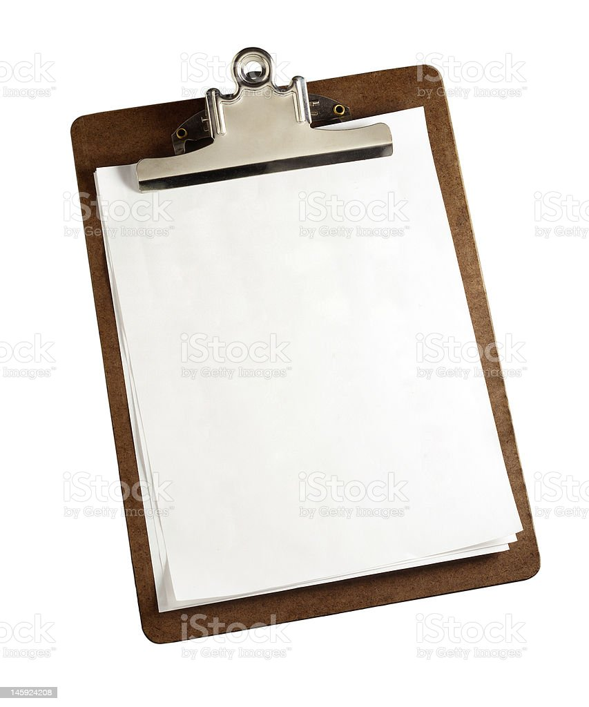 Clipboard with clipping path stock photo