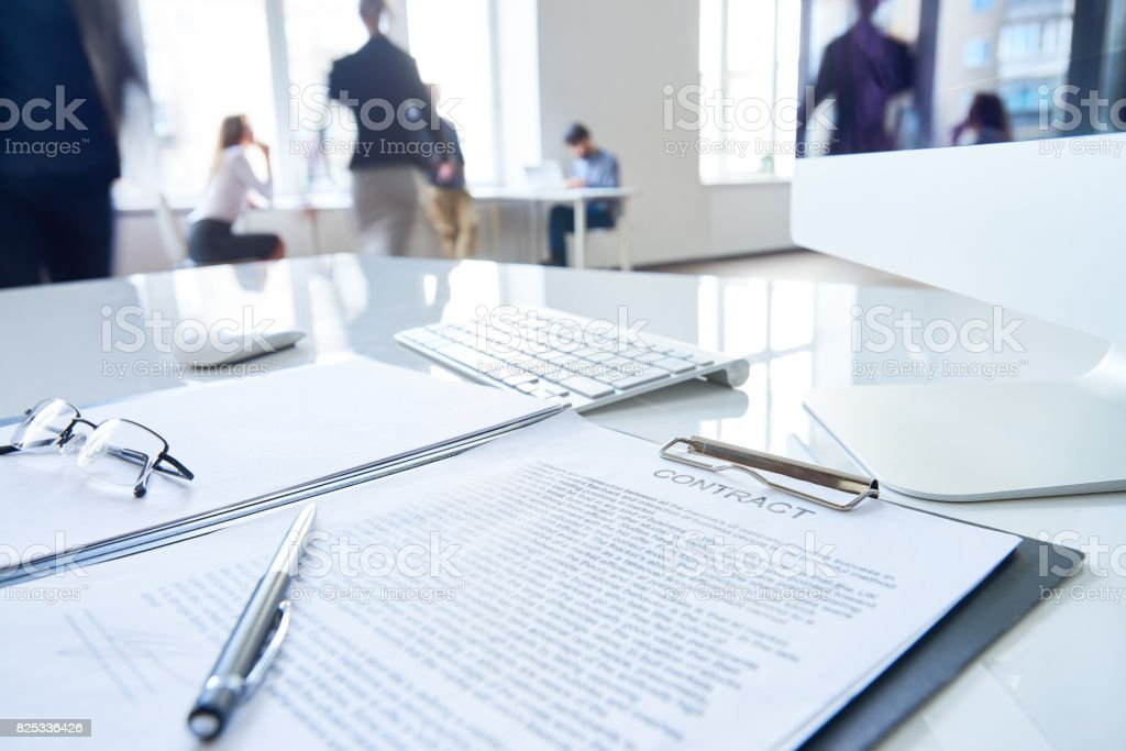 Clipboard with contract stock photo