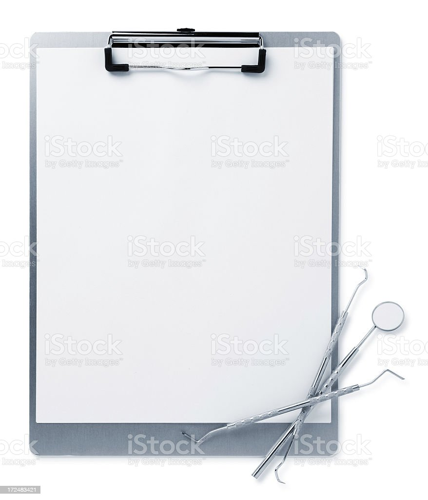 Clipboard with Dental Equipment royalty-free stock photo
