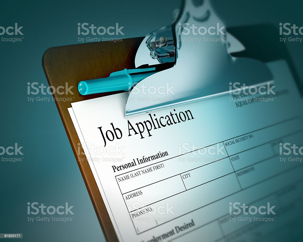 Clipboard with Job Application stock photo