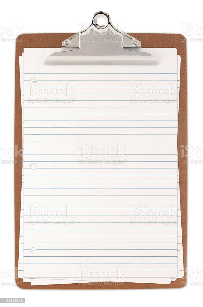 Clipboard with Lined paper sheets stock photo