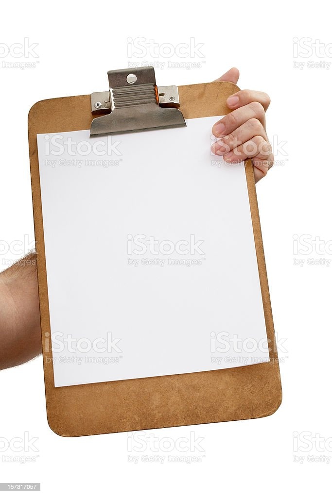 Clipboard with paper royalty-free stock photo