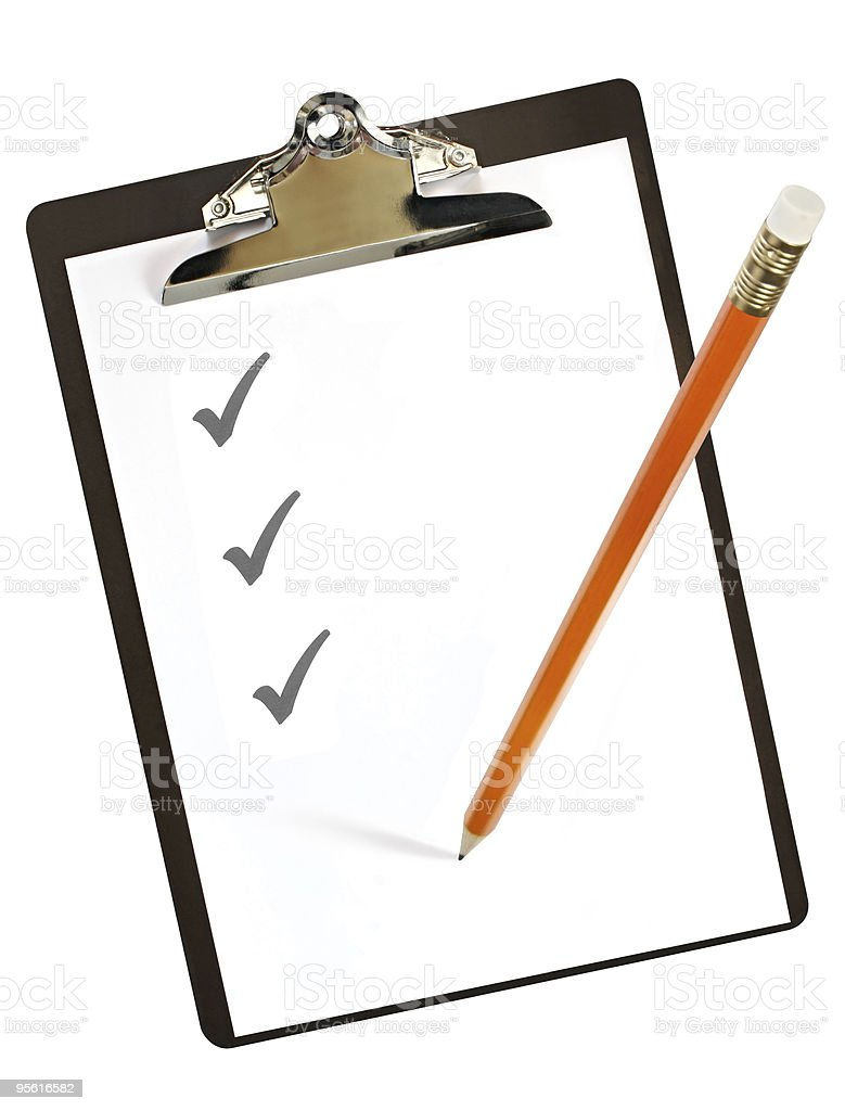 Clipboard with pencil royalty-free stock photo