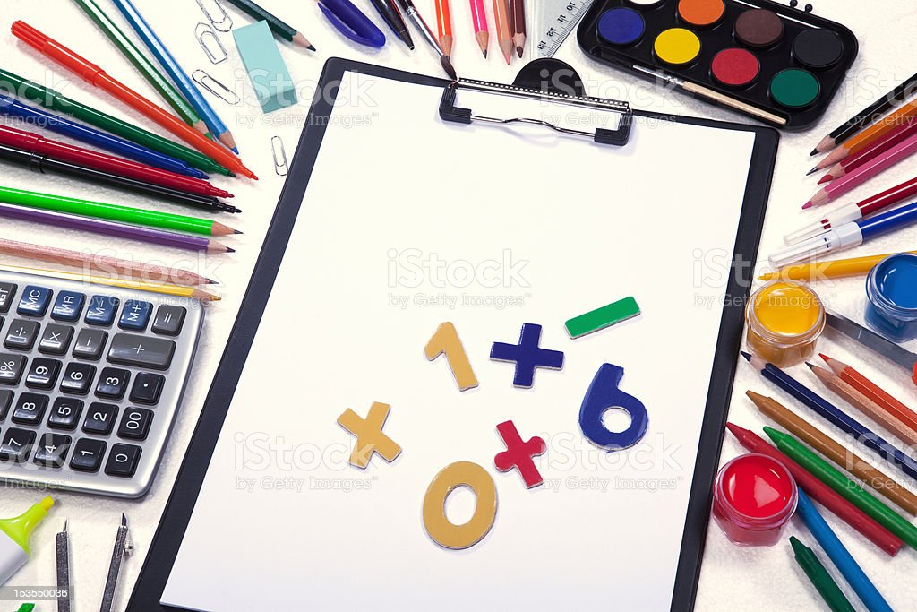 clipboard with school supplies royalty-free stock photo