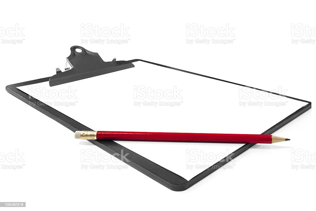 Clipboard with Tick and Pencil royalty-free stock photo