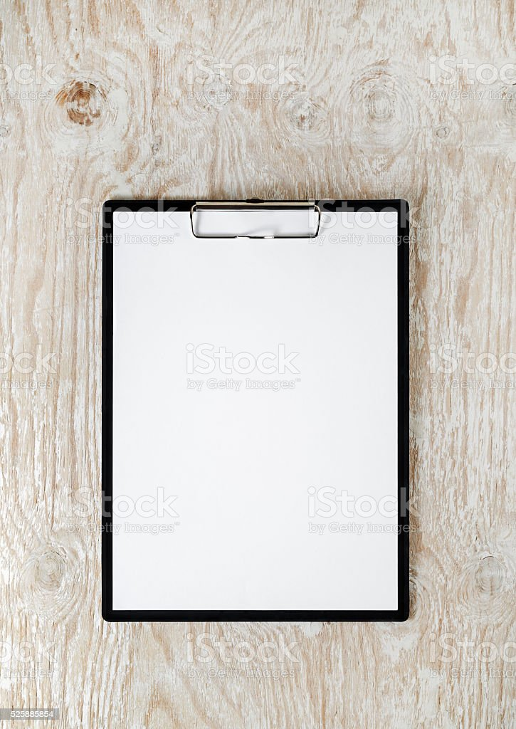 Clipboard with white paper stock photo