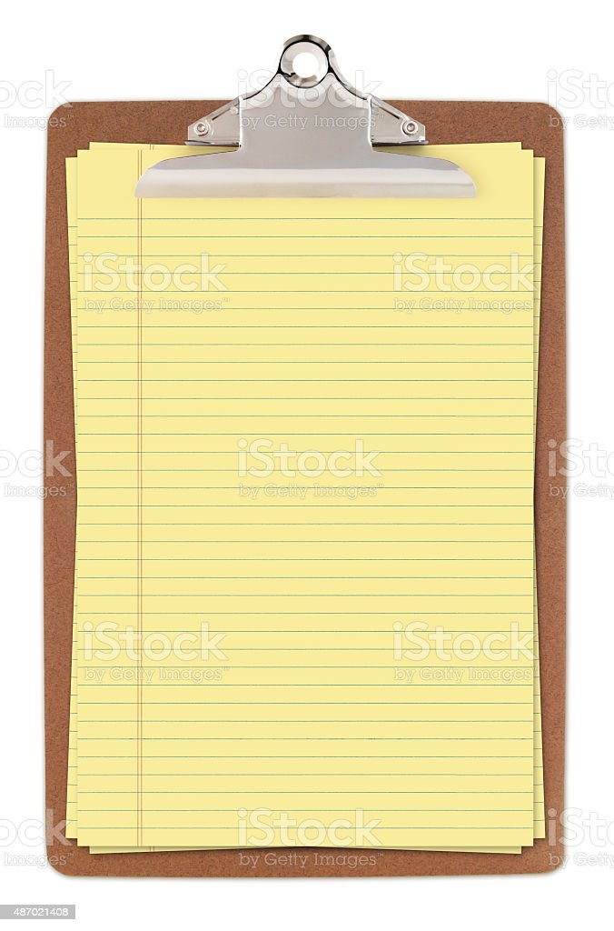 Clipboard with Yellow Legal Paper (with path) stock photo