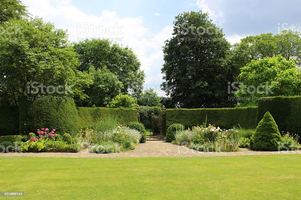 Clipped Yew Hedge Topiary Plants Formal Herbaceous Border Roses Arboretum Stock Photo Download Image Now Istock