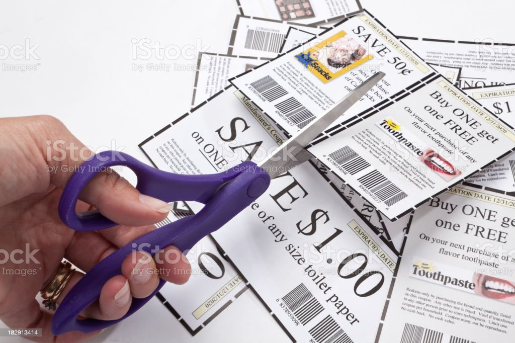 Clipping Coupons stock photo