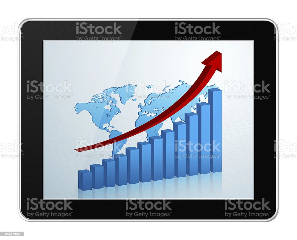[Clipping path!] Business growth chart in digital tablet PC isolated stock photo