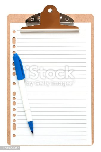 524051315 istock photo [Clipping path!] Clipboard with blank notepad isolated 175420057