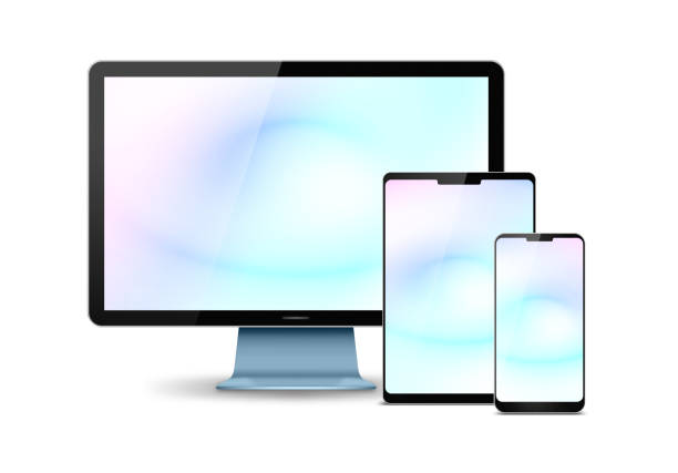 [uitknippad] de monitor van de computer, digitale tablet en smart phone geïsoleerd - apparatuur stockfoto's en -beelden
