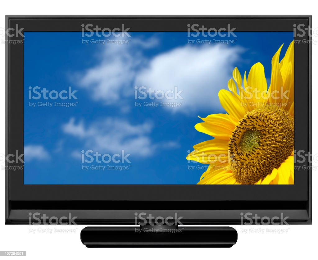 HD LCD TV, clipping path, isolated on white royalty-free stock photo