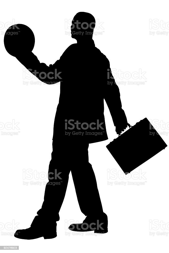 Clipping Path of Business Man with Briefcase and royalty-free stock photo