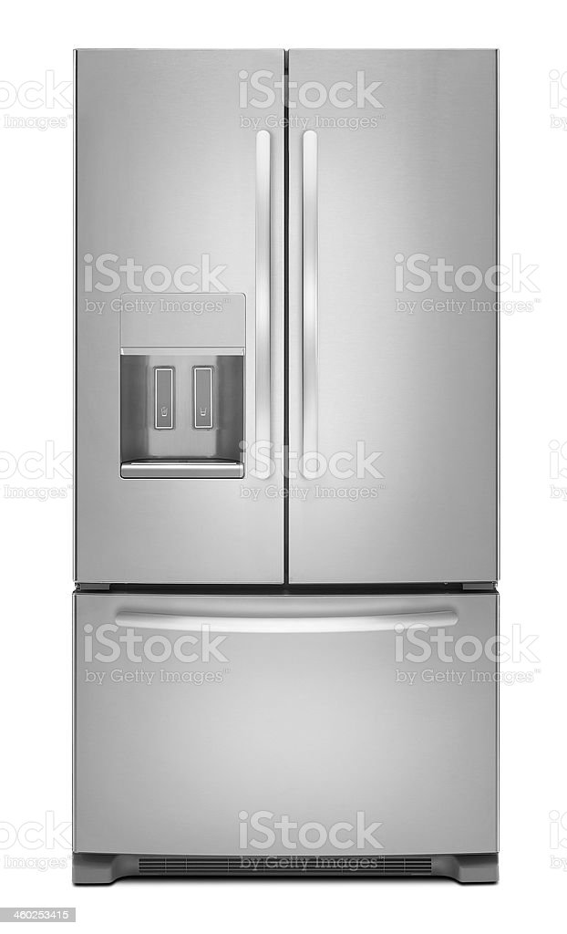 clipping path of the double door freezer stock photo