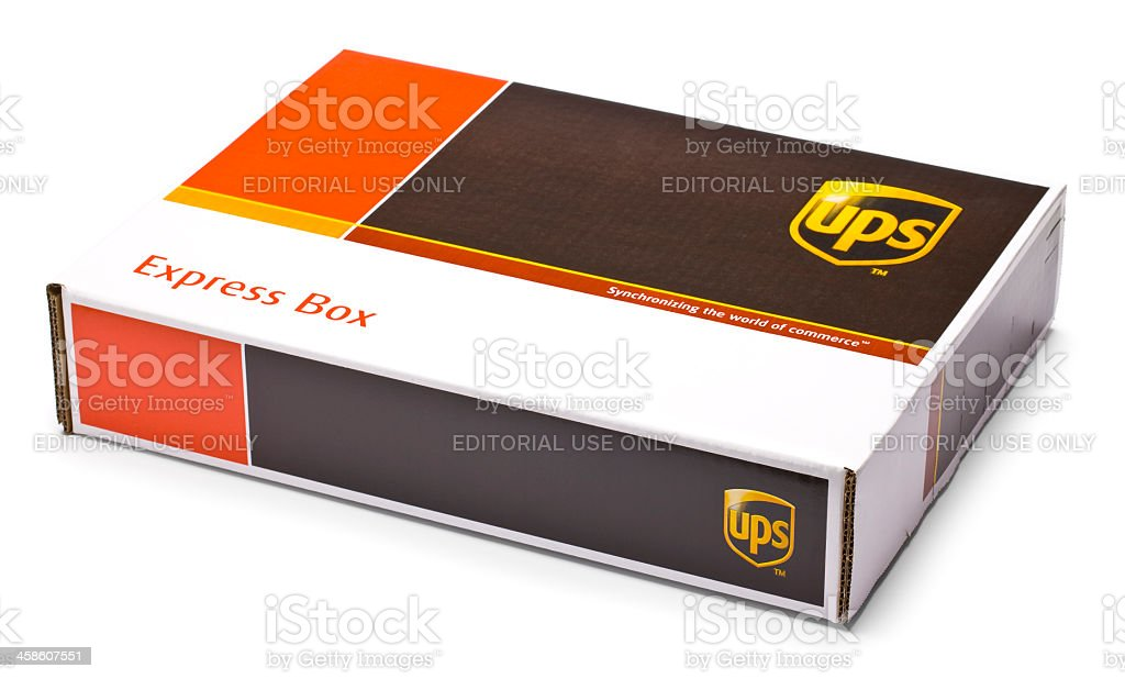 Clipping Path - UPS Box with Shadow stock photo