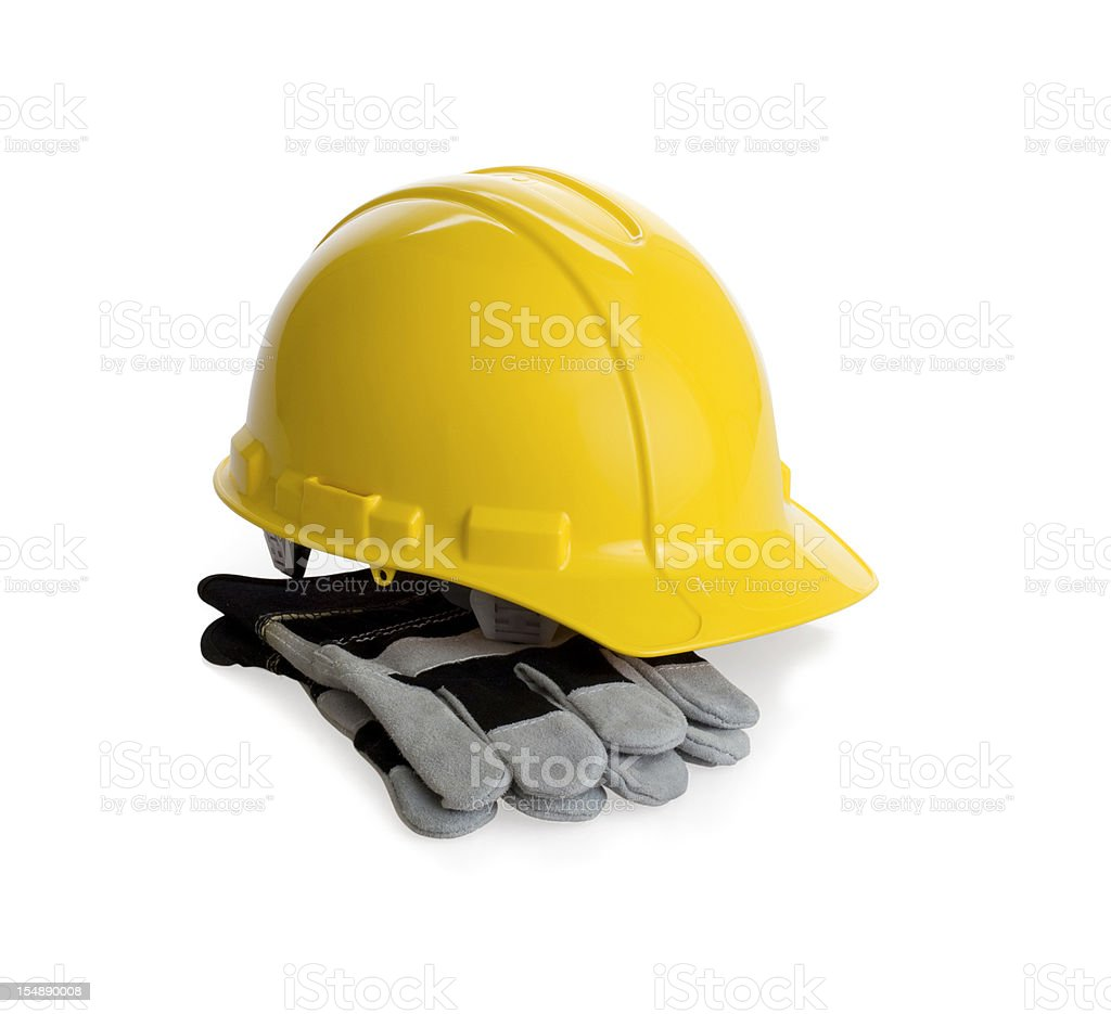 Clipping Path-Hard Hat with Gloves royalty-free stock photo