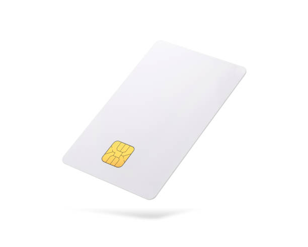 clipping paths chip card isolated on white background. template of blank credit card for your design. - advertising isometric stock pictures, royalty-free photos & images