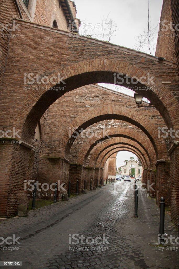 Clivus Scauri in Rome, Italy stock photo